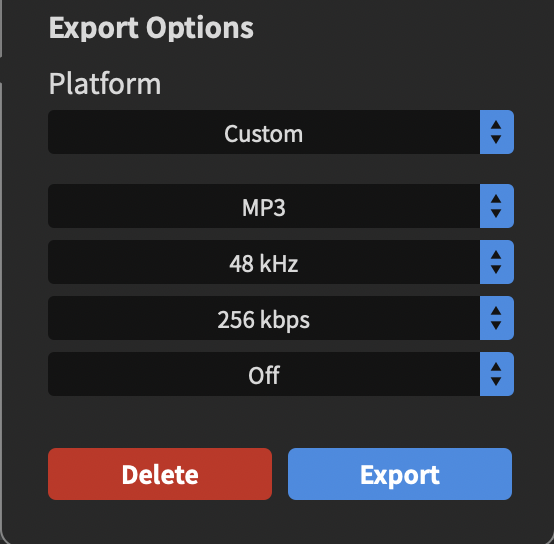 Export options for recording.