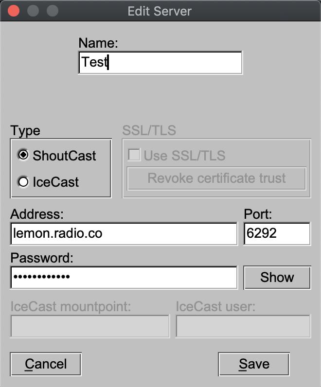 BUTT encoder server settings.