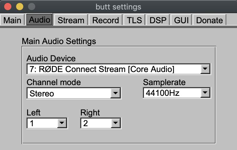 BUTT audio input devices.