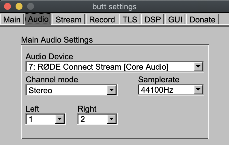 BUTT audio input devices.