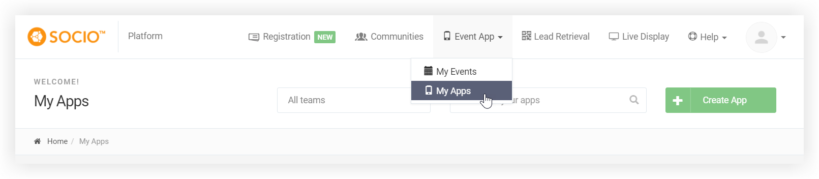 Screenshot of the Socio platform with the Event App menu expanded and the My Apps selection highlighted.