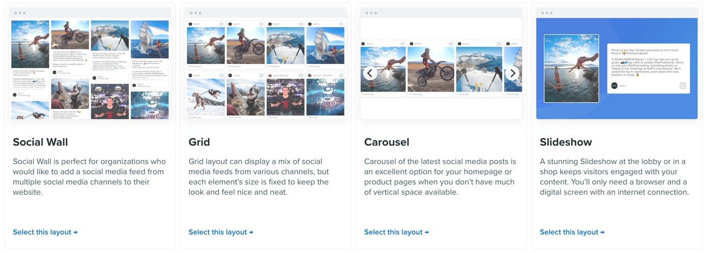 Flockler display layouts for social media feeds