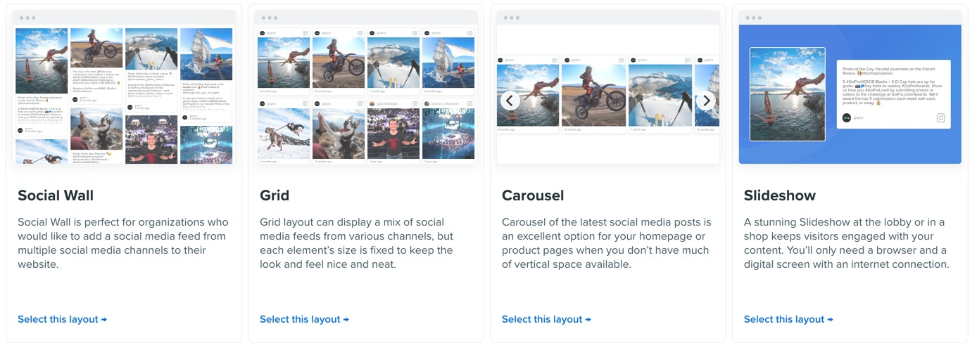 Flockler display layouts for social media feeds