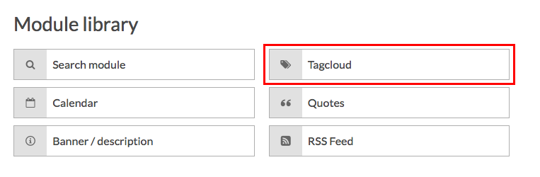 module library with tag cloud highlighted
