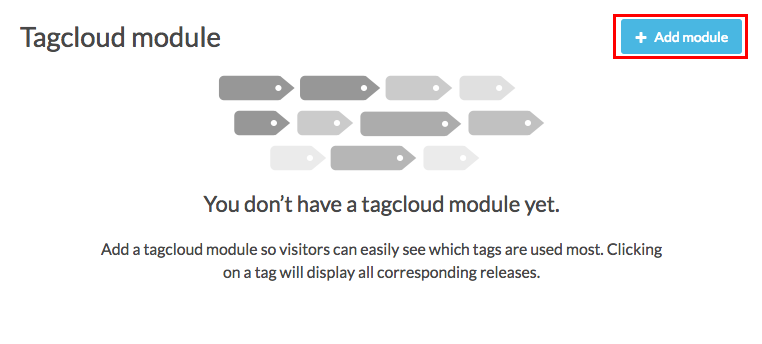 tag cloud module with add module button highlighted