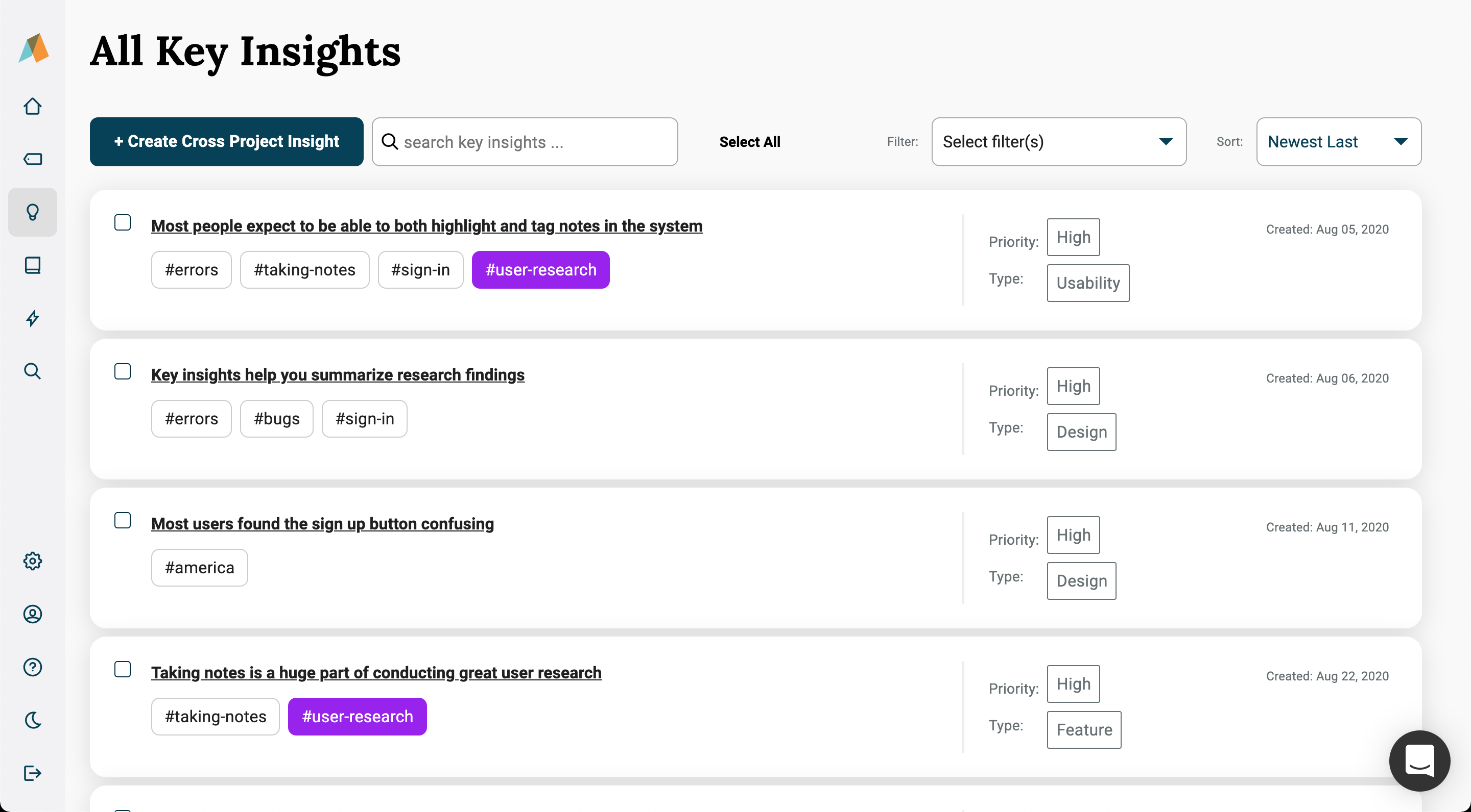creating cross project insights from the all insights page