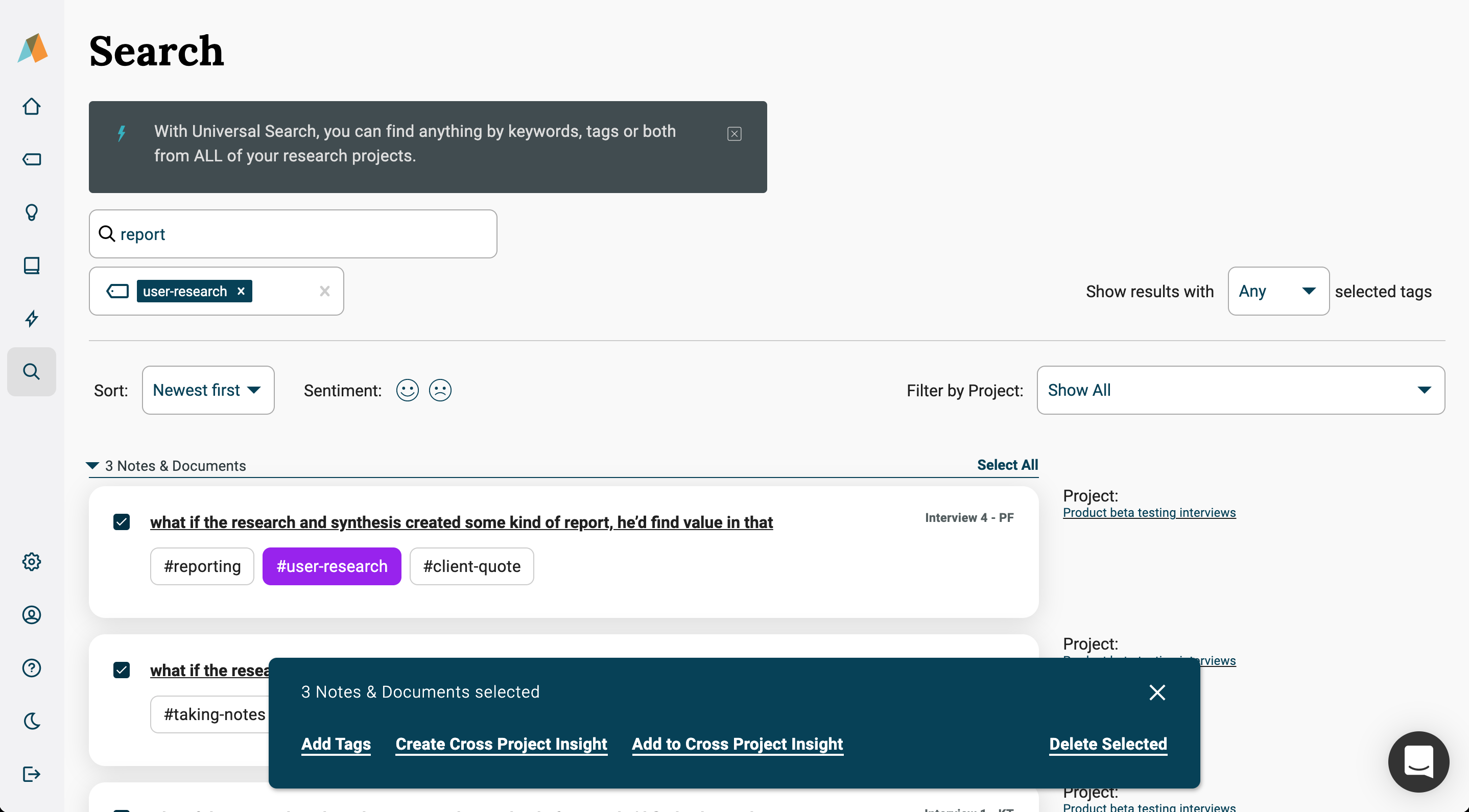 creating cross project insights from the universal search page