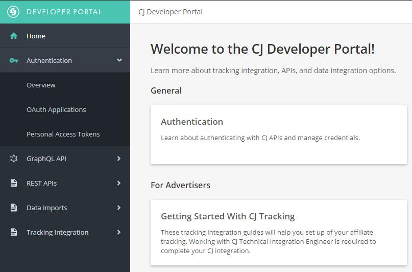 CJ Developer Portal welcome page