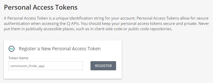 CJ Developer portal create personal access token page.