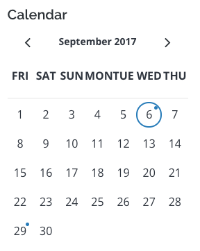 calendar module with notable dates highlighted