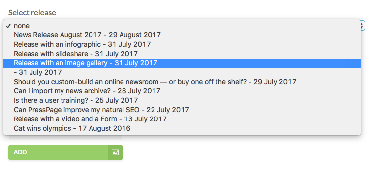 dropdown menu with available releases
