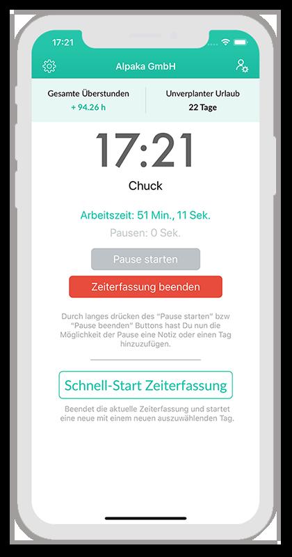 Schnell-Start Zeiterfassung: Ansicht für Mitarbeiter