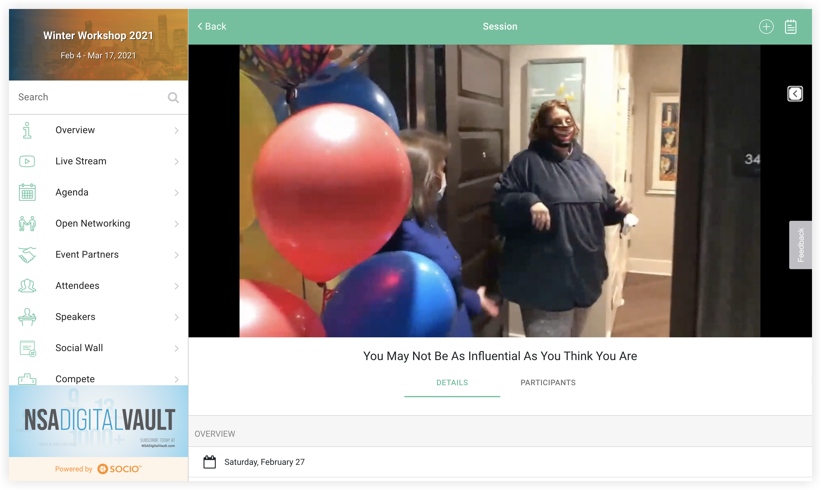 Screenshot of a video playing in the Socio platform.
