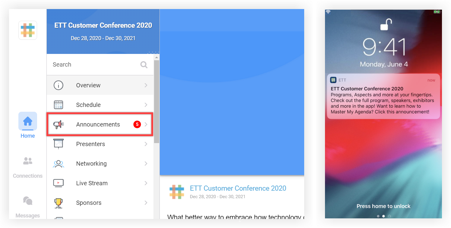 Two screenshots. Once shows the new announcement indicator on the Web App. The other shows a push notification on a mobile device.