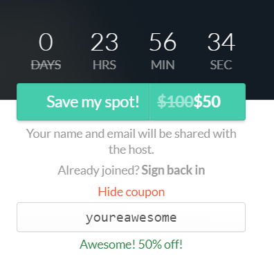 A picture of the registration button with the coupon code and discount included