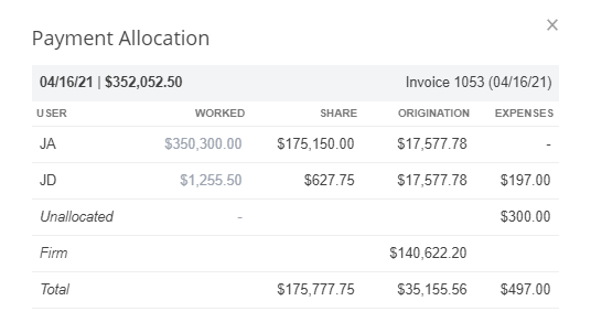 A screenshot of the Payment Allocation window