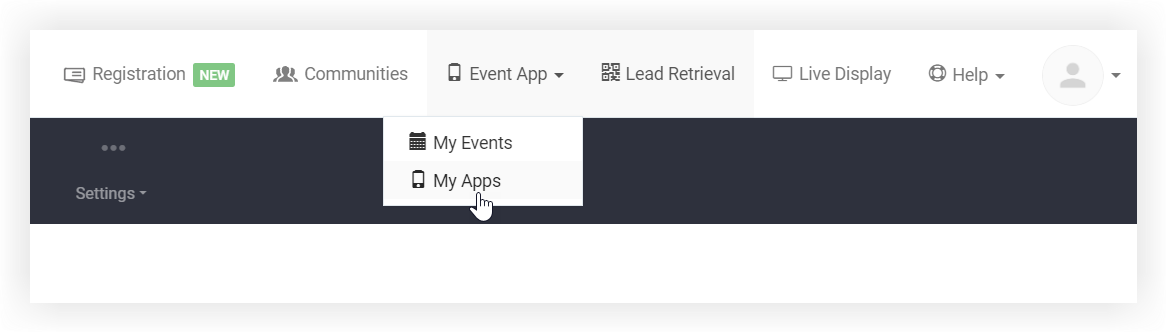 Screenshot of the My Apps button on the Event App drop-down.