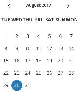 example of the calendar module