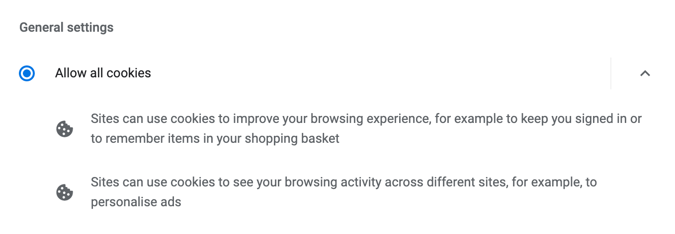 General settings to allow browser cookies