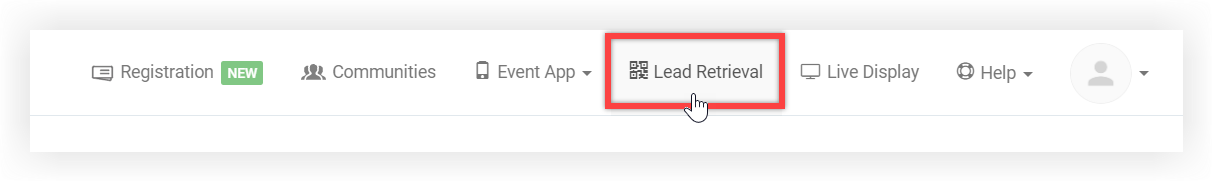 Screenshot of the product navigation bar. Lead Retrieval is indicated.
