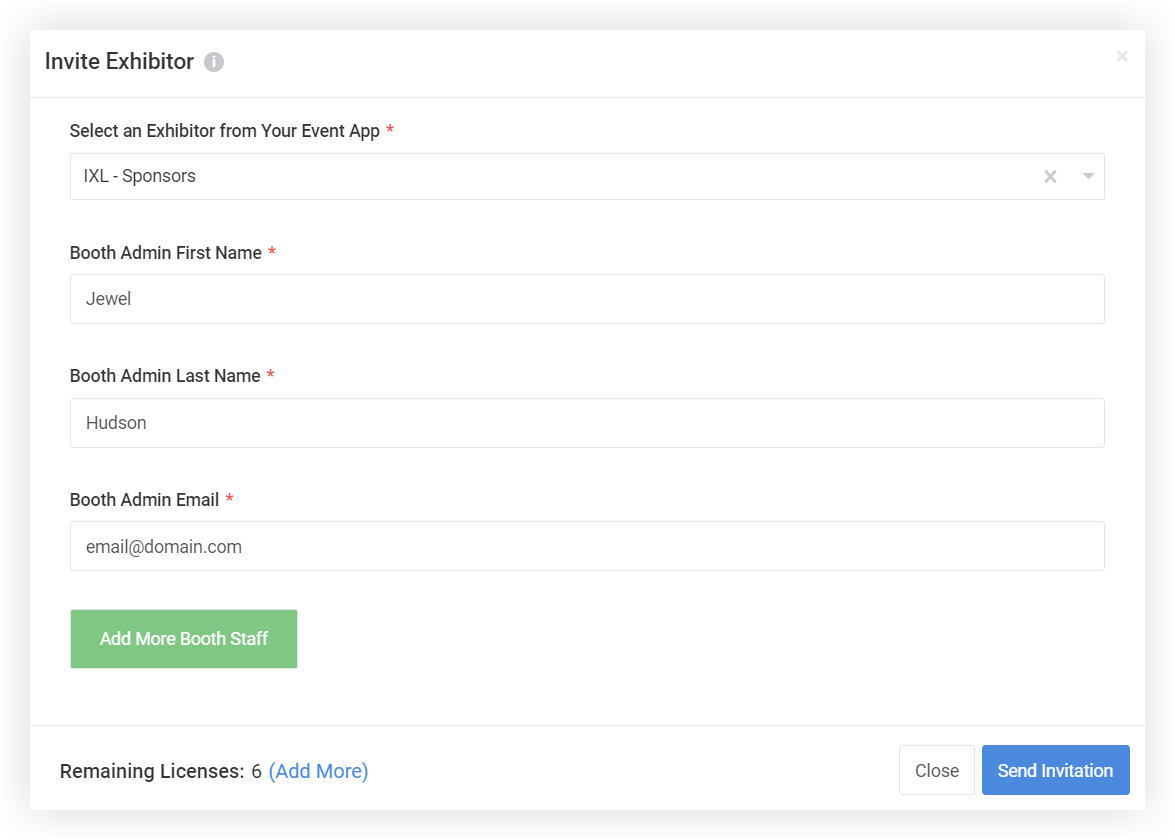 Screenshot of the Invite Exhibitor modal.