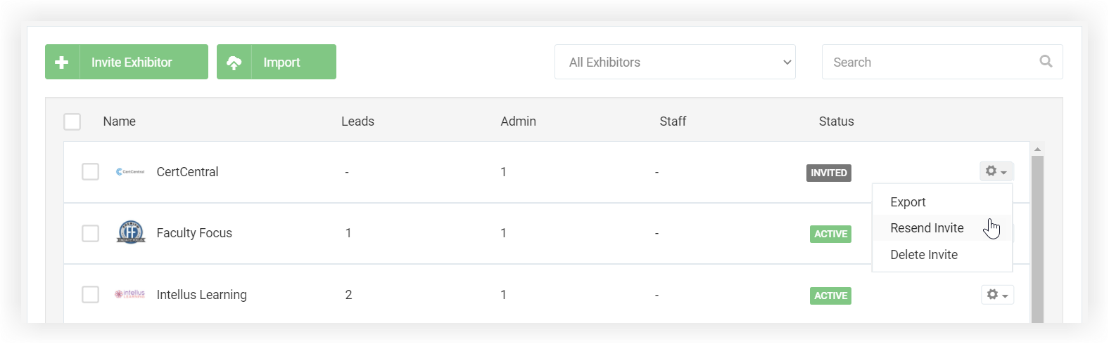 Screenshot of the Exhibitors page after some Exhibitors have been invited. The settings icon for one of them has been clicked.