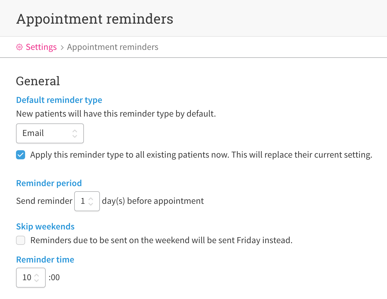set up email appointment reminders cliniko help