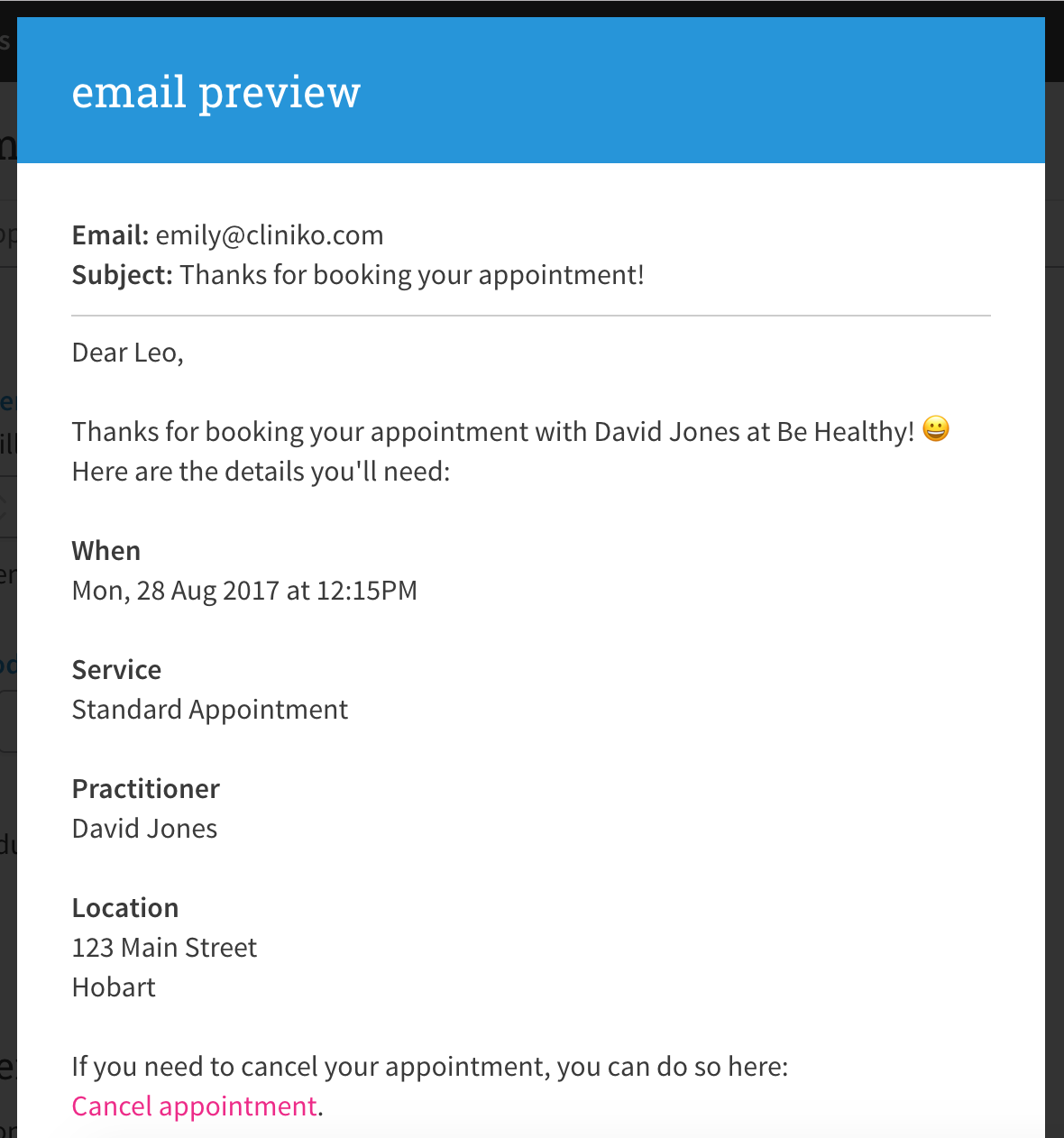 appointment confirmation emails