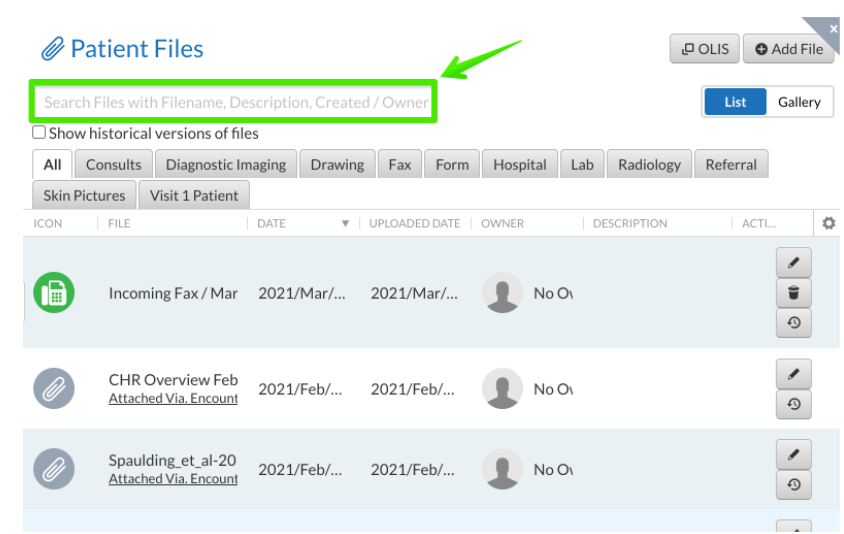 Patient files section with search field highlighted