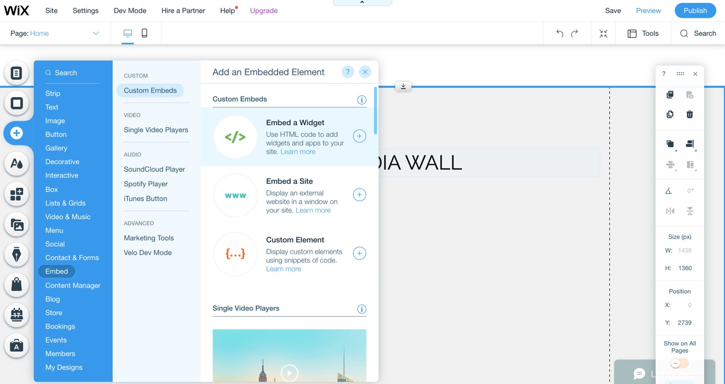 Add an element to a Wix page