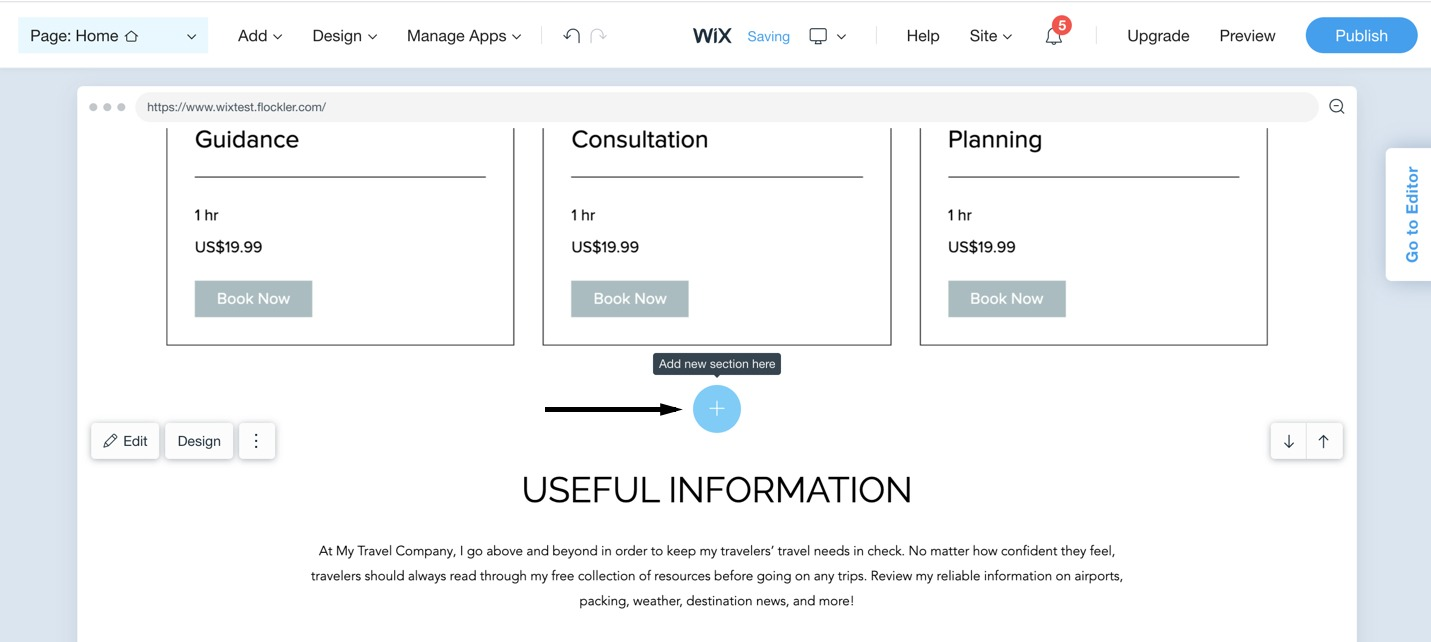 Add an element with the Wix ADI editor
