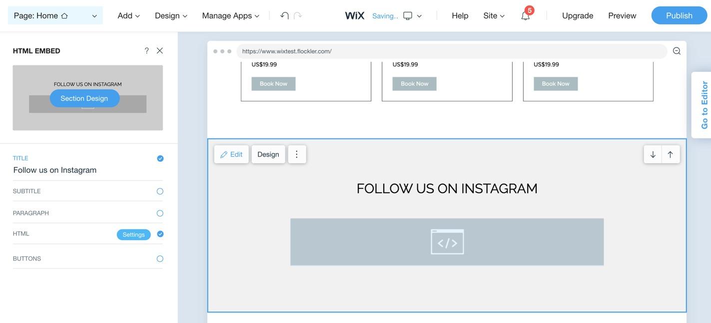 Editing HTML element on the Wix ADI editor