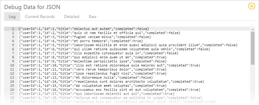 Synatic - Display JSON debug data for the Group step