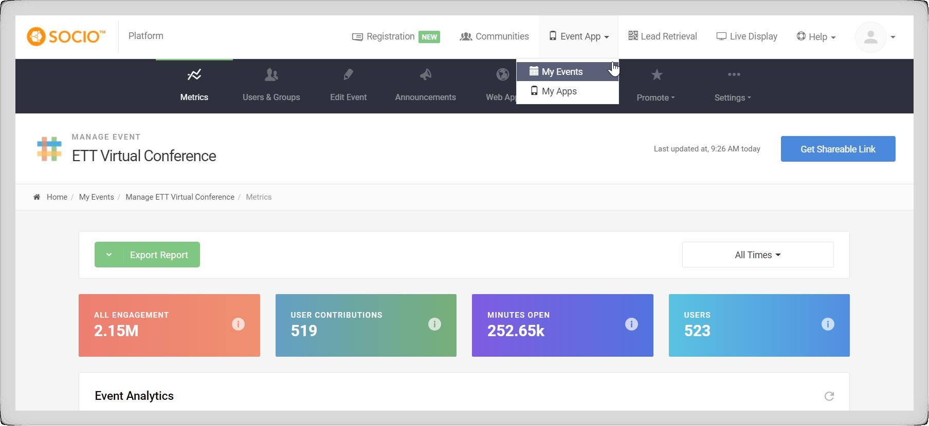 Screenshot of an event in the Socio Platform.