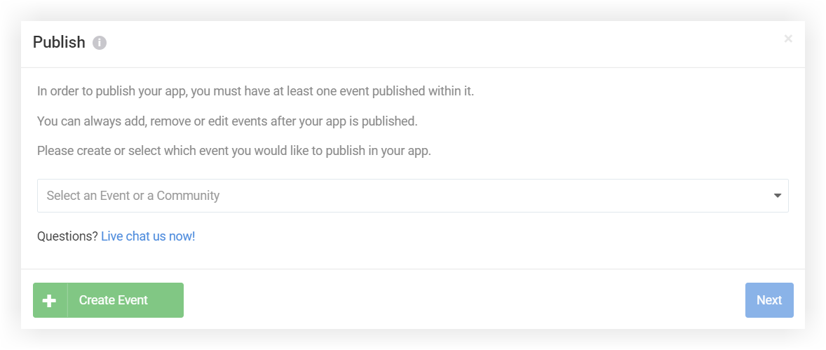 Screenshot of the Publish modal just described.