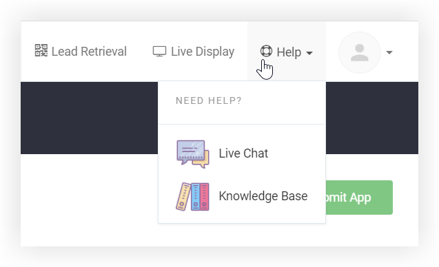 Screenshot of the Help tab expanded in the Socio platform.
