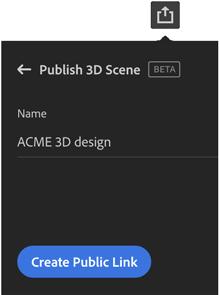 Share 3D scene icon in Adobe Dimension
