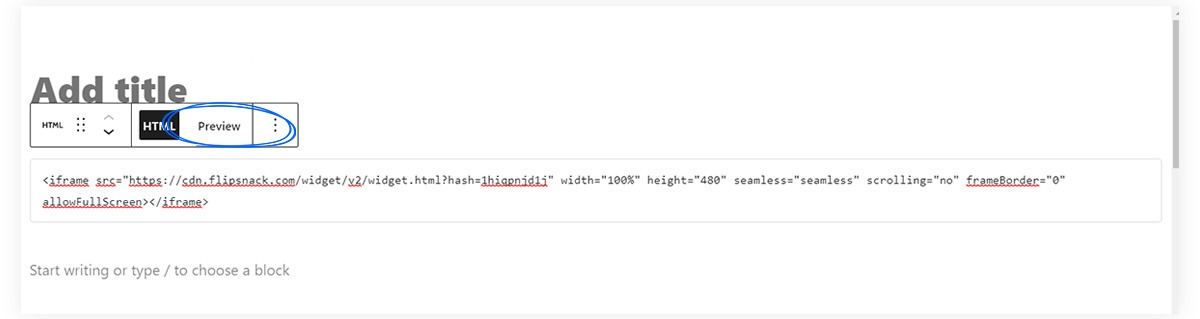 Preview in the HTML block in WordPress