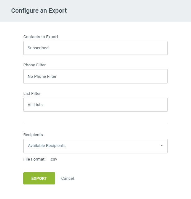 Configure an export