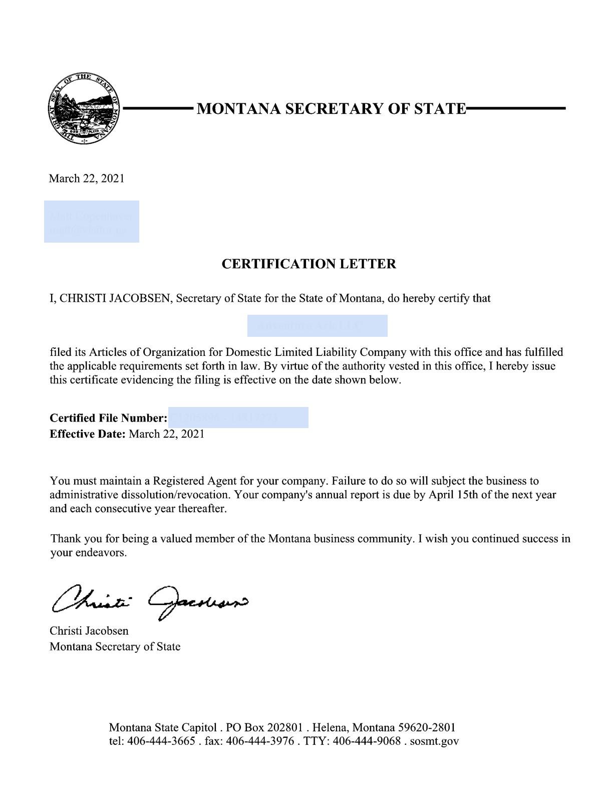 Montana LLC Certification Letter Example