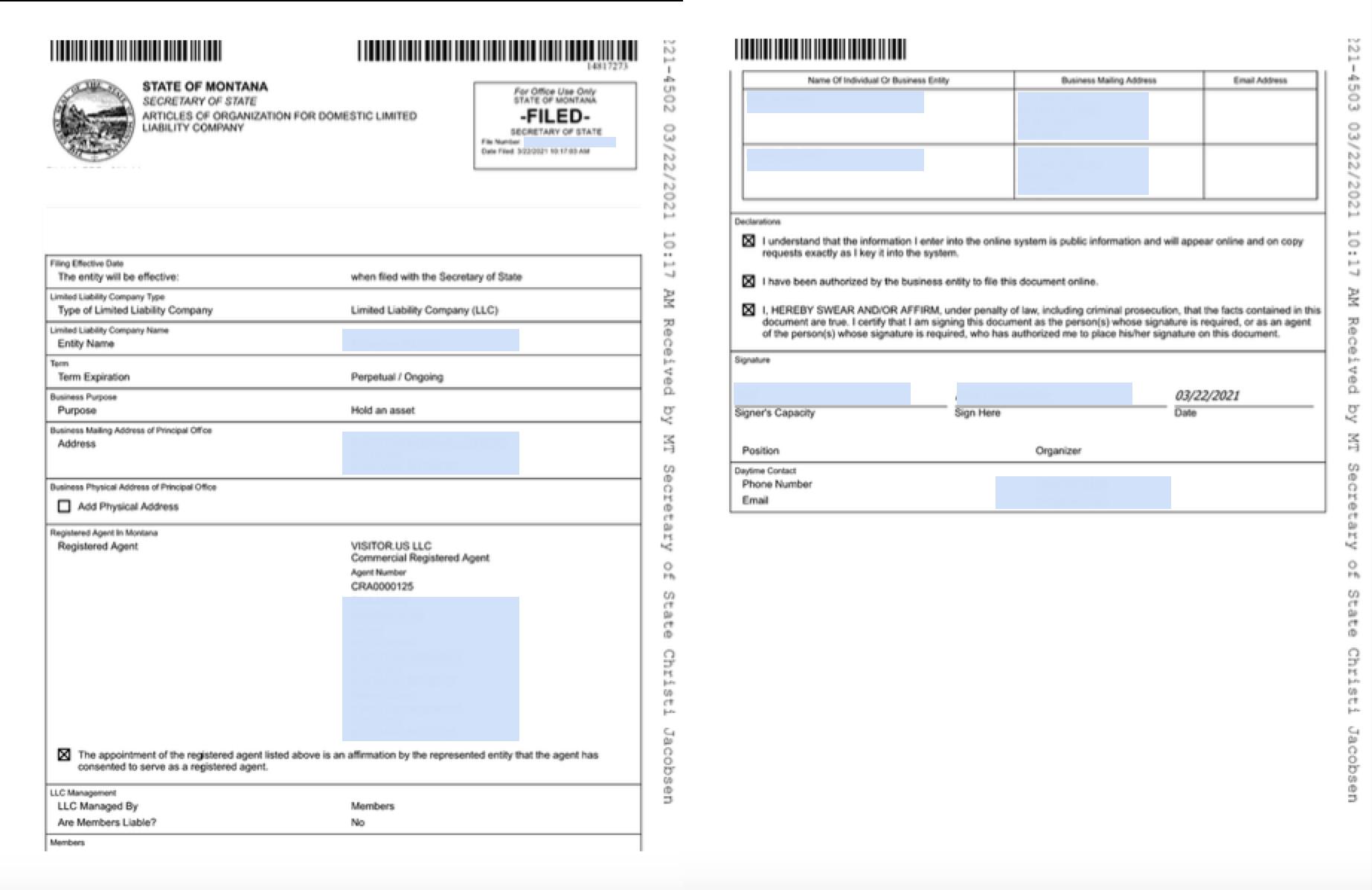 Montana LLC Articles of Organization Example