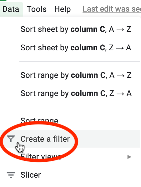 Data menu on Google Sheets showing the cursor on the