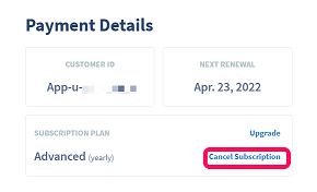The cancel subscription button under Payment Details in a QR Code Generator Pro account