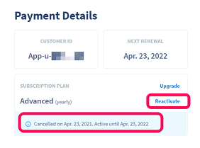 Payment Details in a QR Code Generator Pro account highlighting contract information
