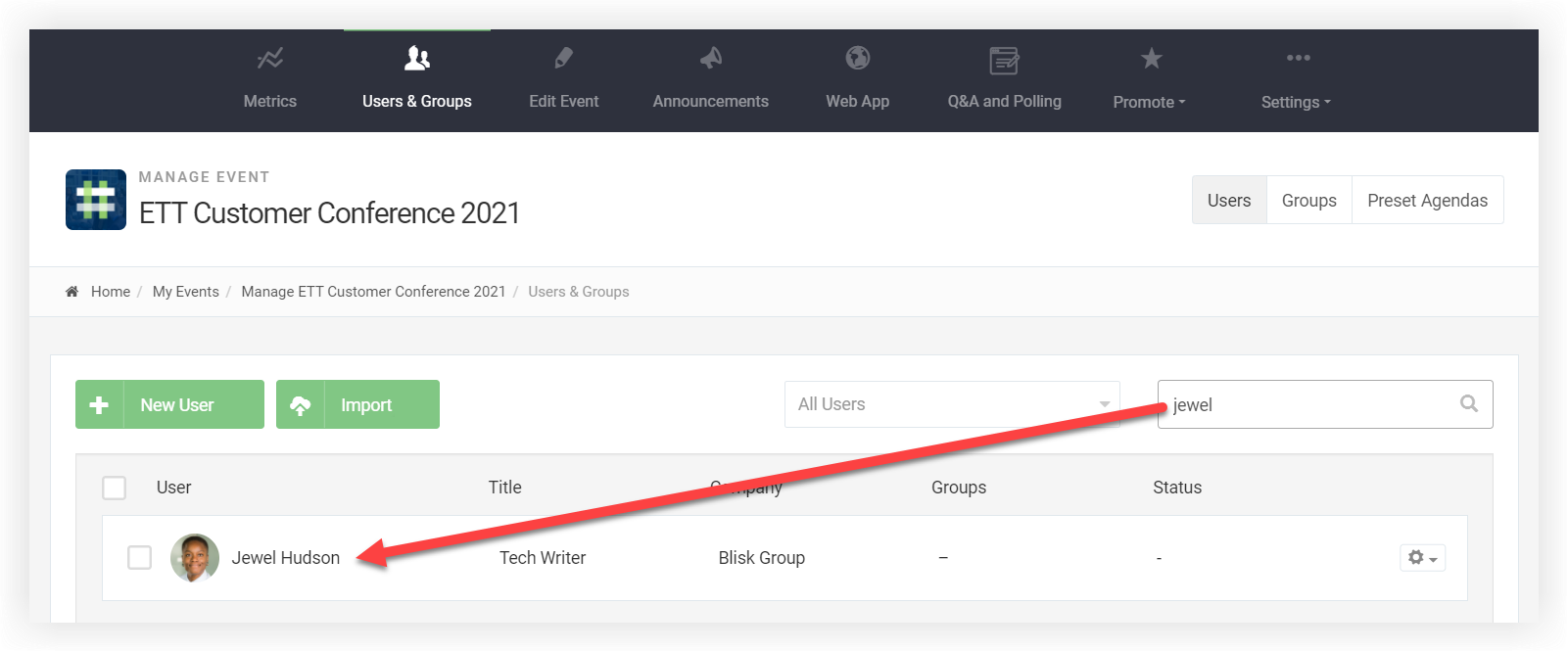 Screenshot of the users and groups tab. The user has searched for