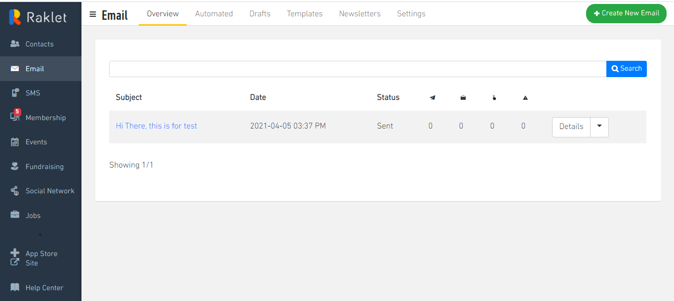 Go to Email section in the left column in admin panel and click +Create New Email