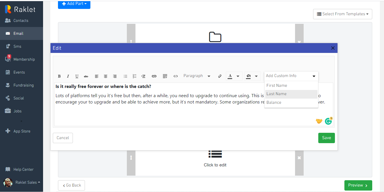 To create the text section, click on the related part and compose your text, and then save