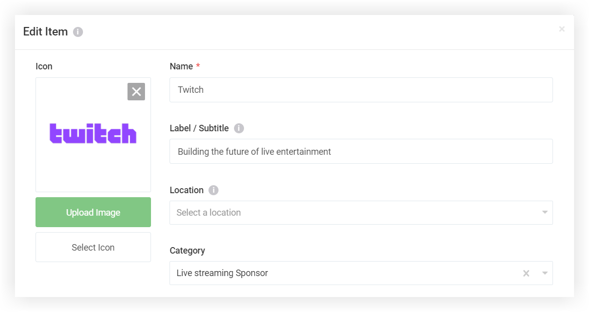 Screenshot of the Edit item modal for a Sponsor.