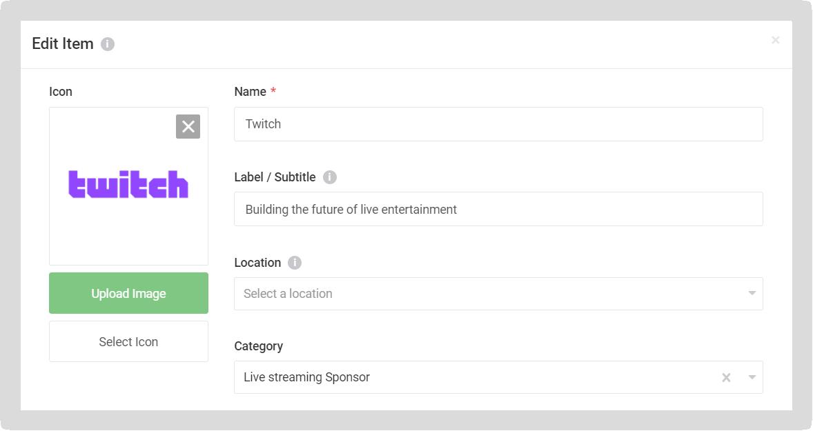 Screenshot of the Edit item modal for a Sponsor.
