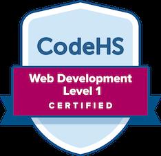 CodeHS Web Development Level 1 Certification Badge